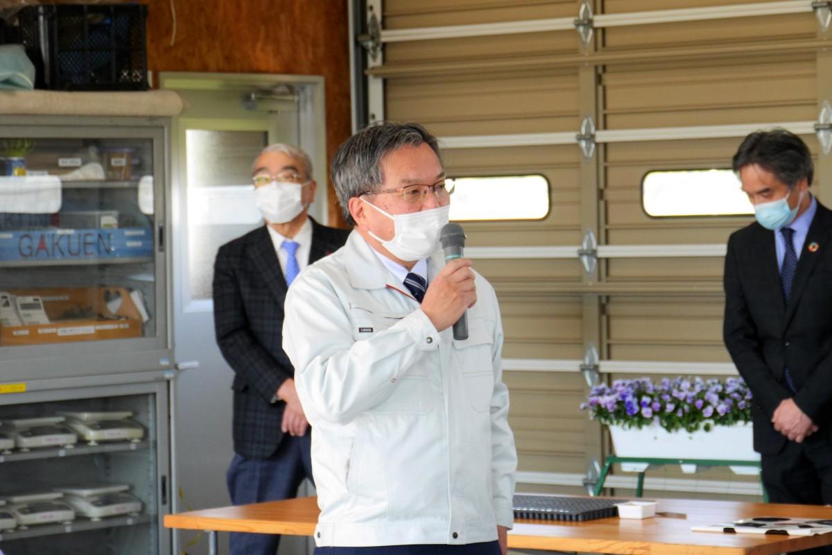 作物生産ステーション水田圃場供用開始記念「もみ播き」セレモニーを実施