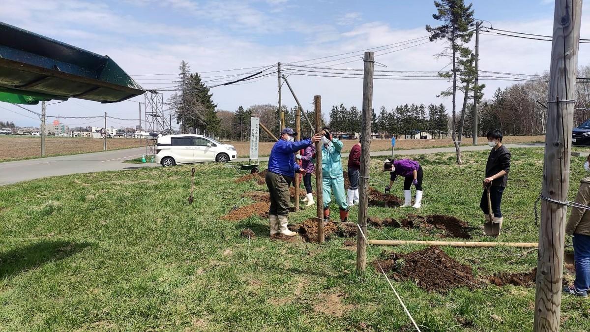 学内の旧30番圃場にブドウ苗用の支柱を立てる作業を実施