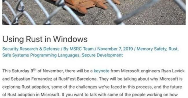 Microsoft、Windows 10の一部をRustへ書き換えてセキュリティ強化狙う