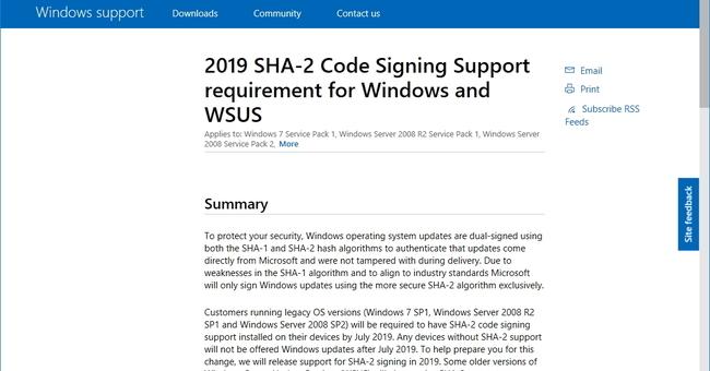 Windowsパッチの署名がSHA-2へ一本化 ~Windows 7は7月までに対応を済ませないと更新不能に/Windows Server 2008 R2 SP1、Windows Server 2008 SP2も