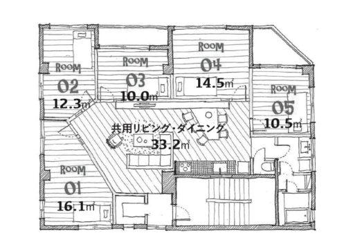 小倉北区吉野町シェアハウス 10㎡+共用リビング33㎡ 49,000円(共益・水光熱費込)