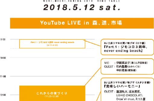 5/12(Sat.)17:50〜 YouTube LIVE in 森、道、市場に出演します!