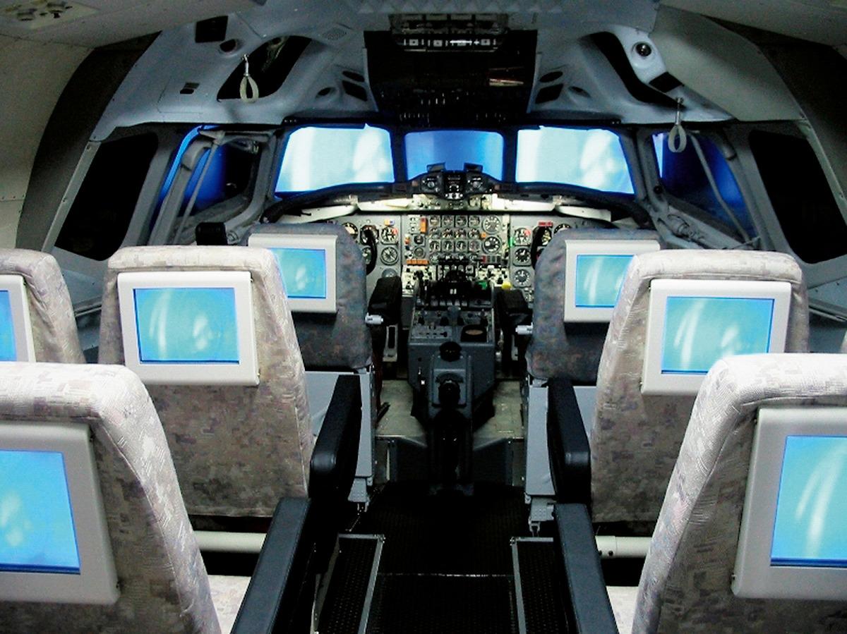 「DC-8フライト体験」の機内/航空科学博物館(千葉県/芝山町)