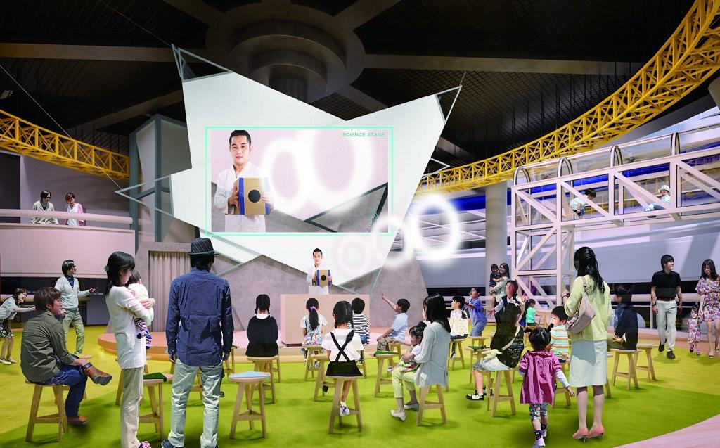 中2階「みらいーらステージ」のサイエンスショーの様子/浜松科学館「みらいーら」(静岡県/浜松市)