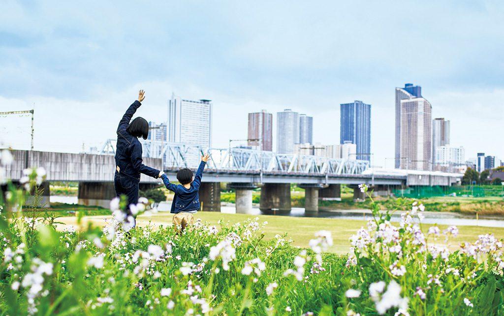 新幹線が見える多摩川丸子橋緑地