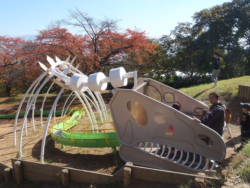 恐竜の骨のローラーすべり台/長野市茶臼山恐竜園・自然植物園(長野県/長野市)