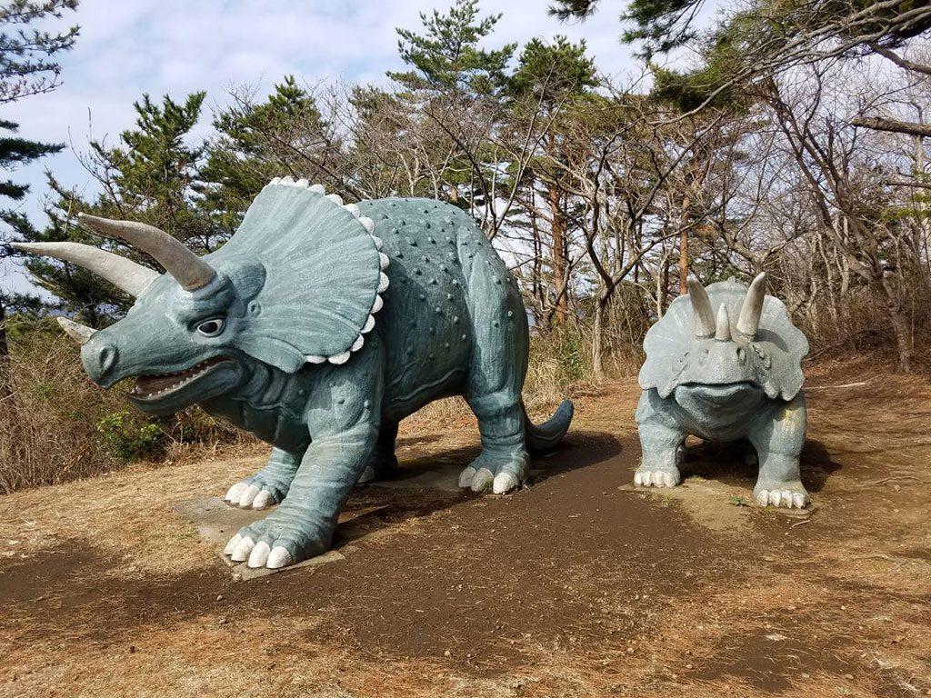 トリケラトプスの復元模型/小室山公園(静岡県/伊東市)