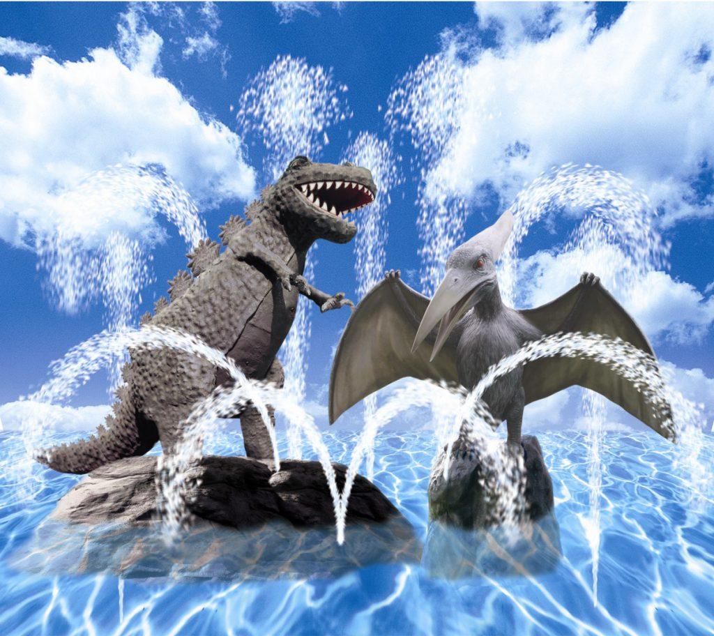 恐竜から水が飛び出すプール/国営海の中道海浜公園 サンシャインプール(福岡県/北九州市)