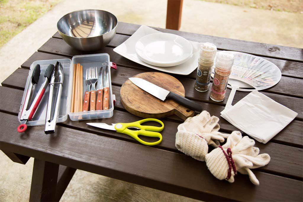 手ぶらでBBQプランで準備してもらえる道具一式(千葉県香取市・ザファーム)