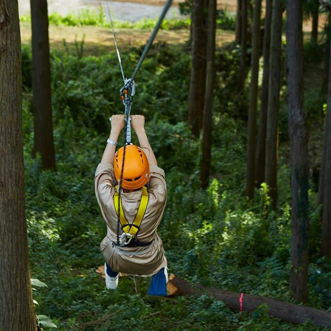 ハーネスを着用し森のジップラインを滑る子ども(千葉県香取市・ザファーム)