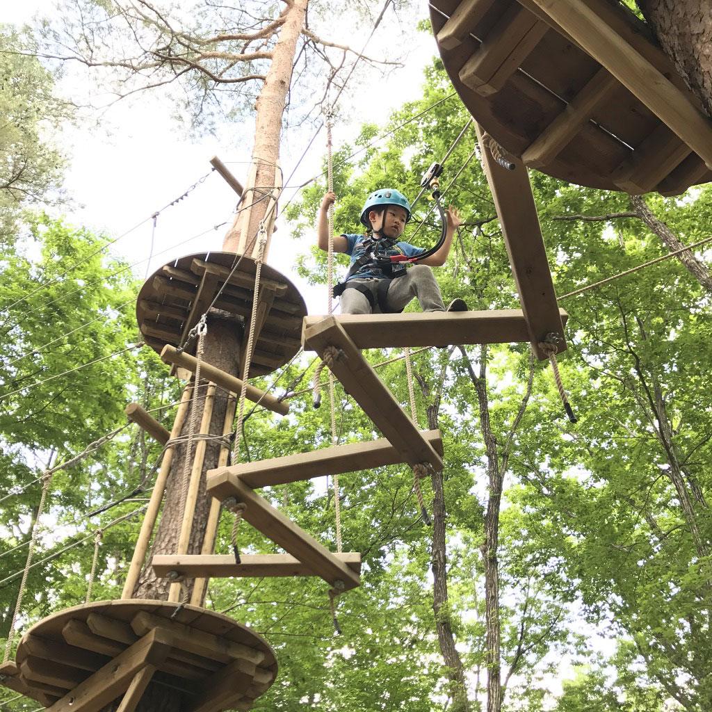 子ザルコースに挑戦する子ども/那須の森の空中アスレチックNOZARU(栃木県/那須郡那須町)
