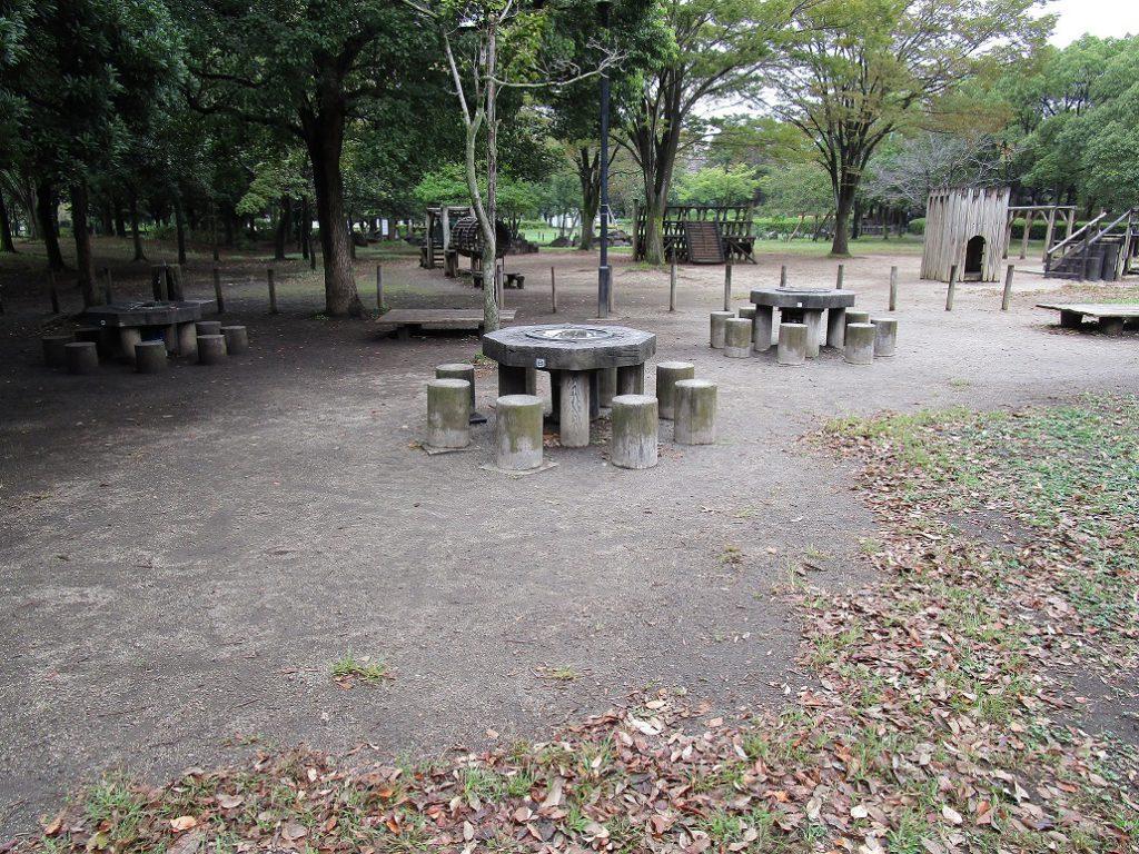 バーベキュー広場とアスレチック遊具/庄和総合公園(埼玉県/春日部市)