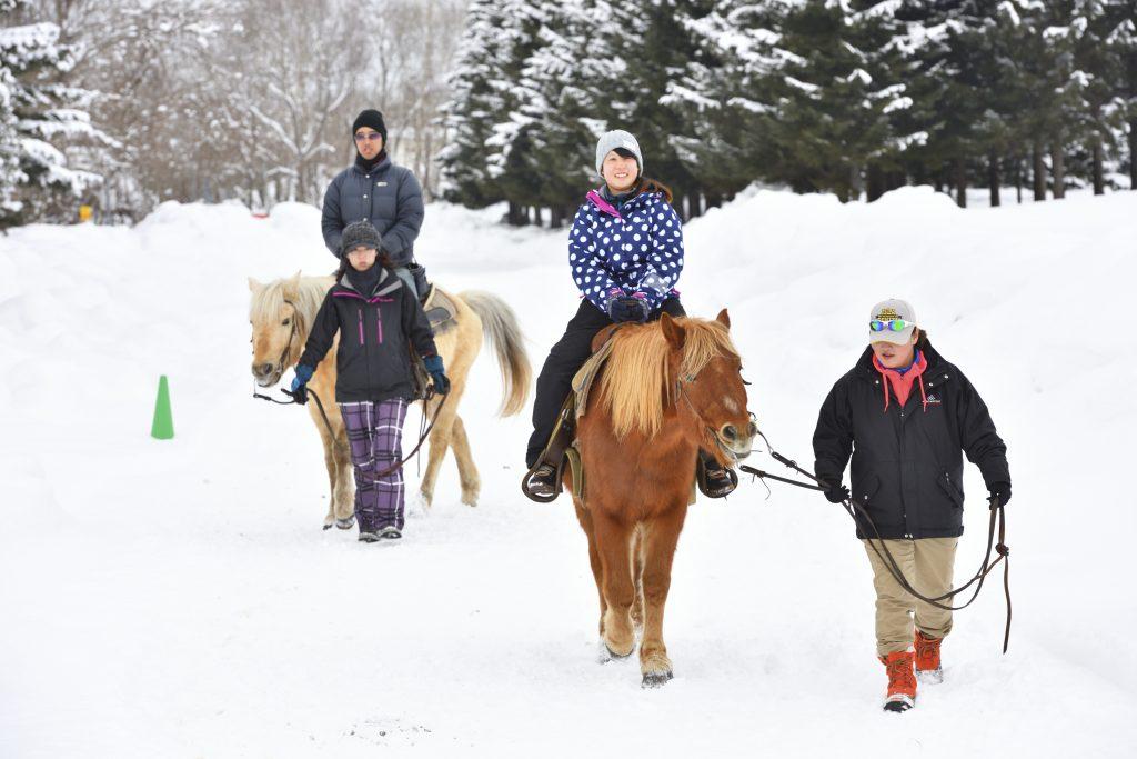 広大な敷地を散歩「雪上乗馬」/ノース・スノーランドin千歳(北海道千歳市)