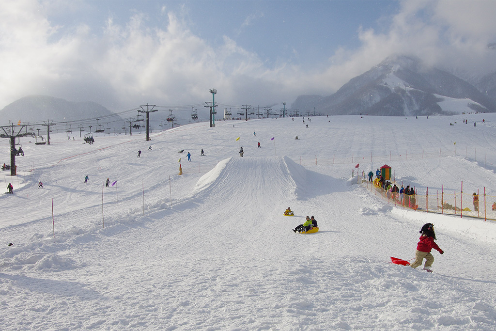 ソリで遊ぶ子どもたち/栂池高原スキー場(長野県/北安曇郡小谷村)