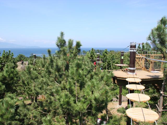 青い海を望みながら楽しむ自然体験施設/初島アドベンチャーSARUTOBI(静岡県熱海市)