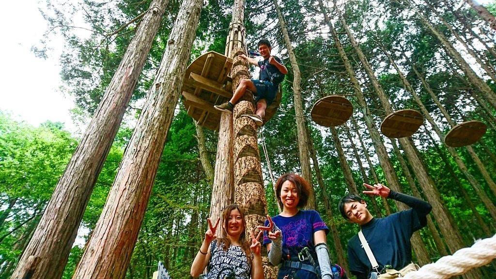 高さ10mもある木と木の間を進むアドベンチャーコース/冒険の森 のせ(大阪府能勢町)