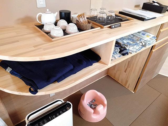 ママと子ルーム(mamatoco room)の備品棚/白樺リゾート 池の平ホテル(長野県/立科町)