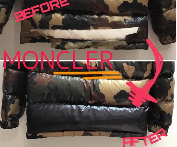 MONCLER(モンクレール) 柄物のダウン補修