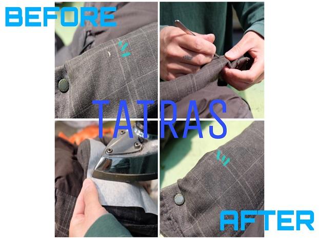 TATRAS(タトラス)ダウンジャケット 生地破れ/穴 接着補修の修理工程!