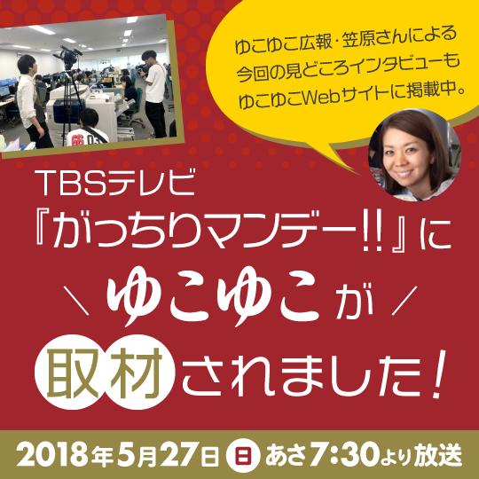 TBSテレビ『がっちりマンデー!!』にゆこゆこが取材されました!