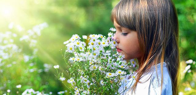 子供と花束