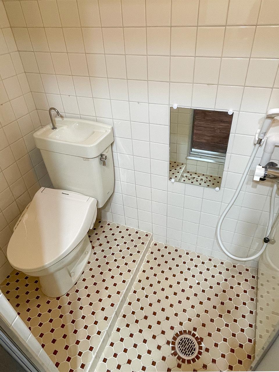 体の洗い場の横はトイレでございます