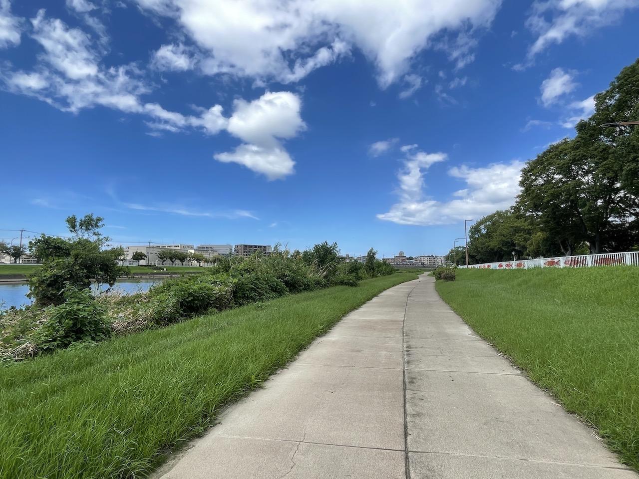 室見川沿いのお散歩コース。