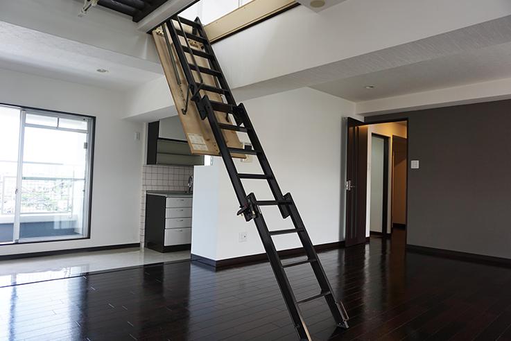 リビングのからくりステア(階段)。最初はちょっとコツが入りますが、慣れれば大丈夫だと思います。