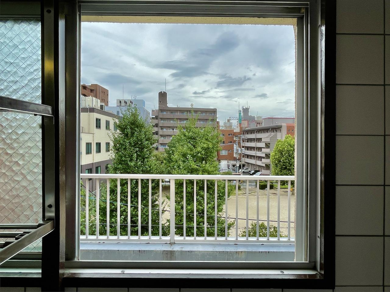 キッチン窓からの景色。緑見えます。
