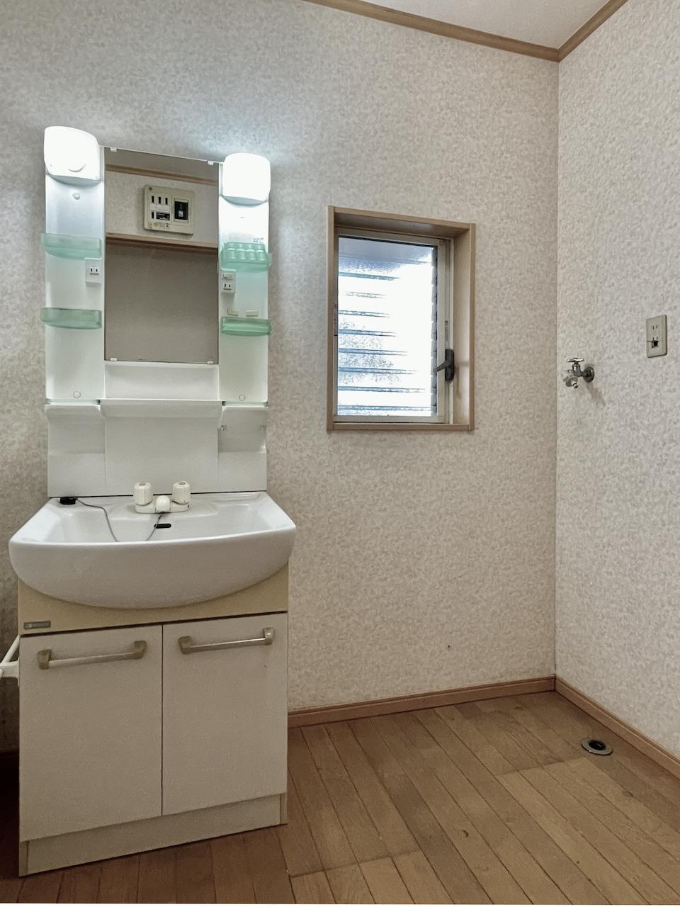 洗面所と洗濯機置き場。