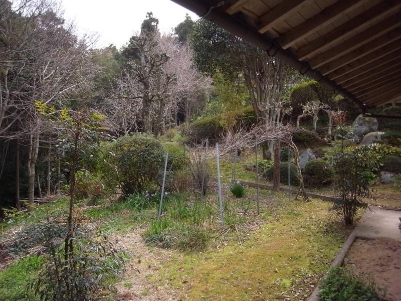 裏庭は家庭菜園にも。庭の北端は水路が通っています。