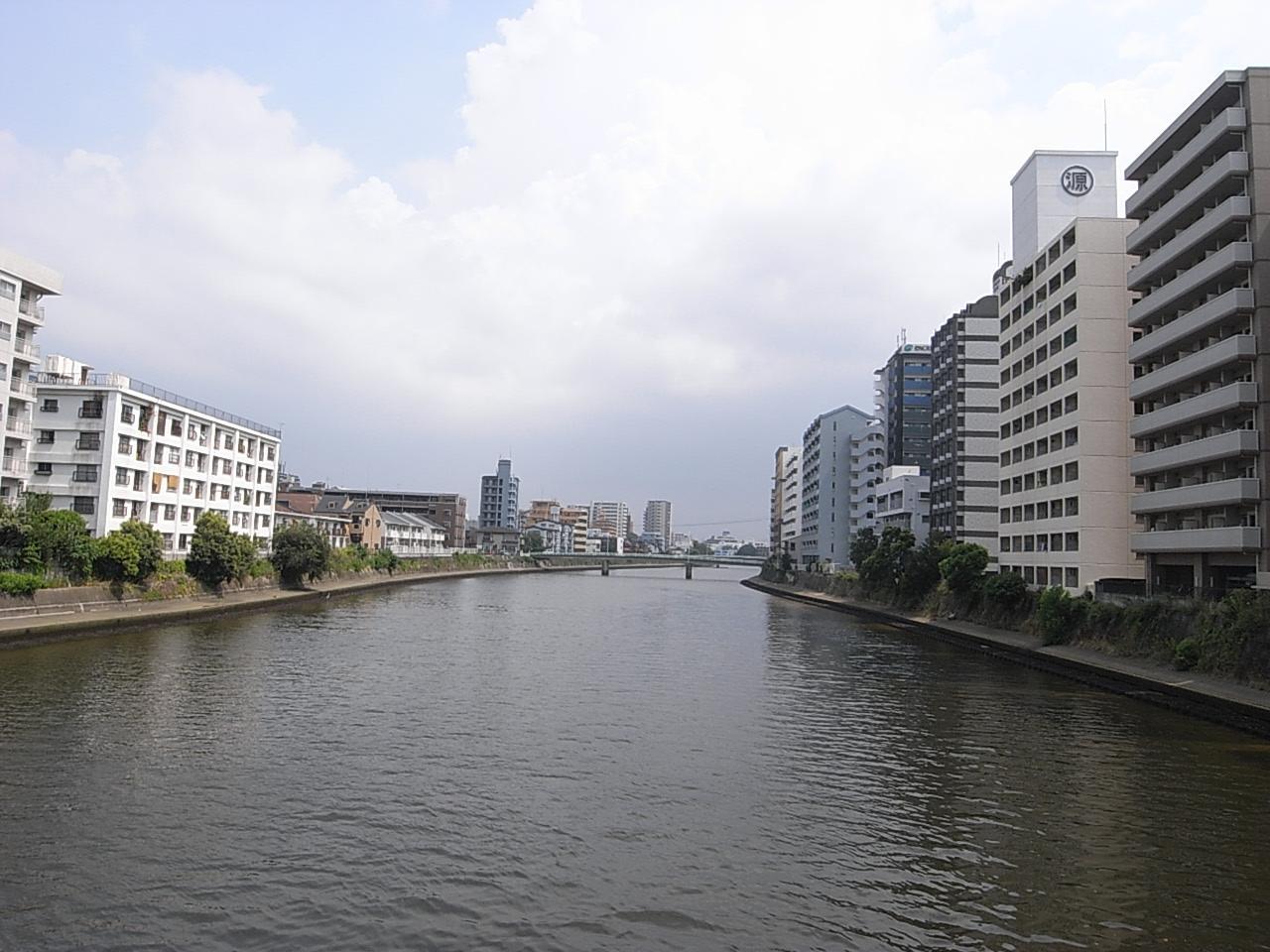 川の方から(物件は右端)