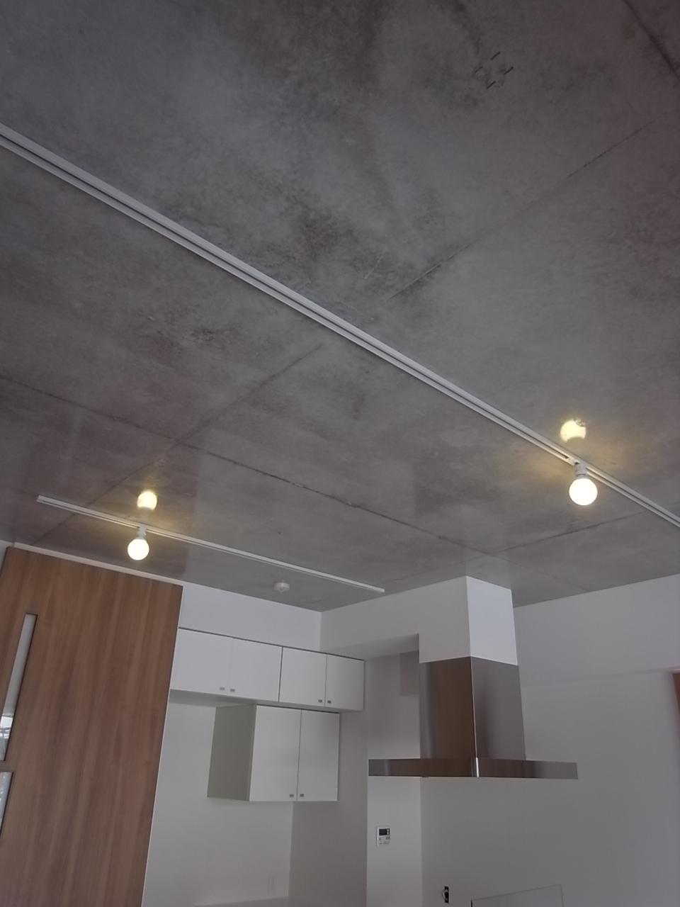 コンクリート天井に照明が映り込みいい雰囲気。