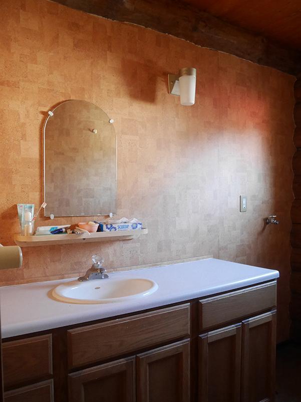 洗面スペースは、なんだかムーディー。