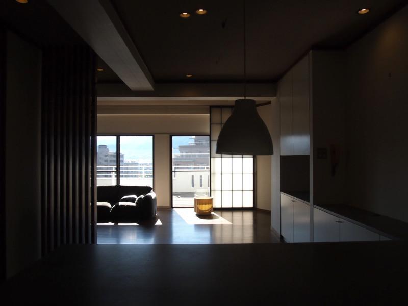 カウンタータイプのキッチンからの視界。