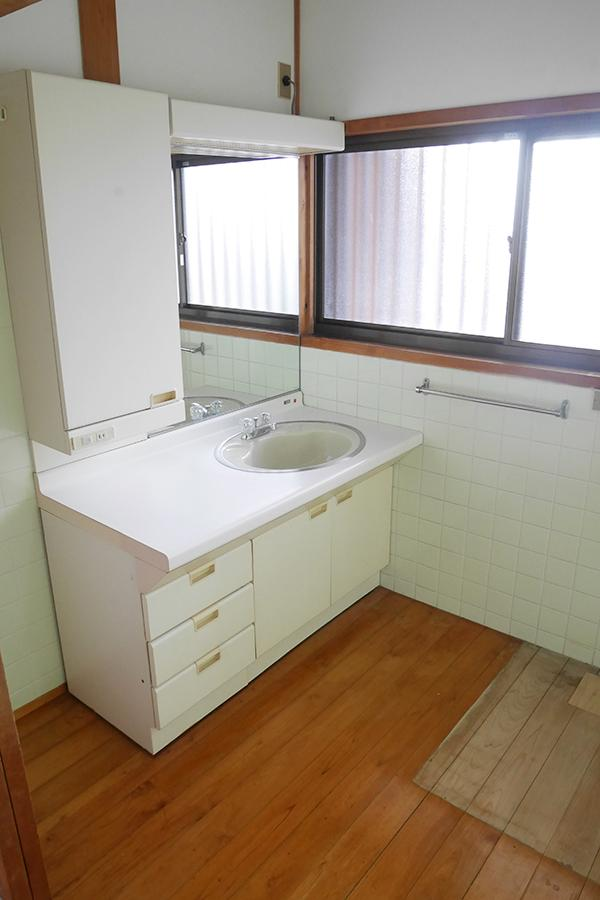 脱衣所も洗面台もご覧のサイズ。