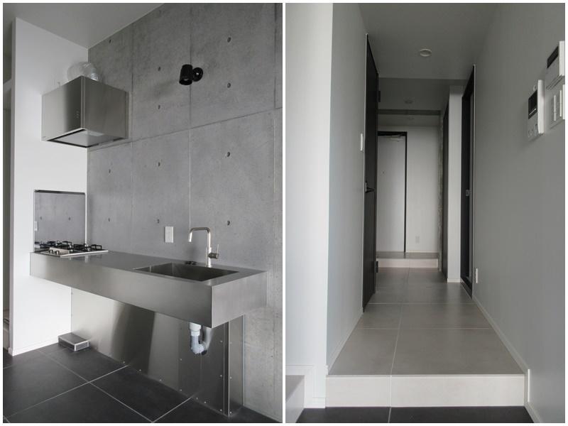 キッチン 廊下と居室部分に少し段差があります