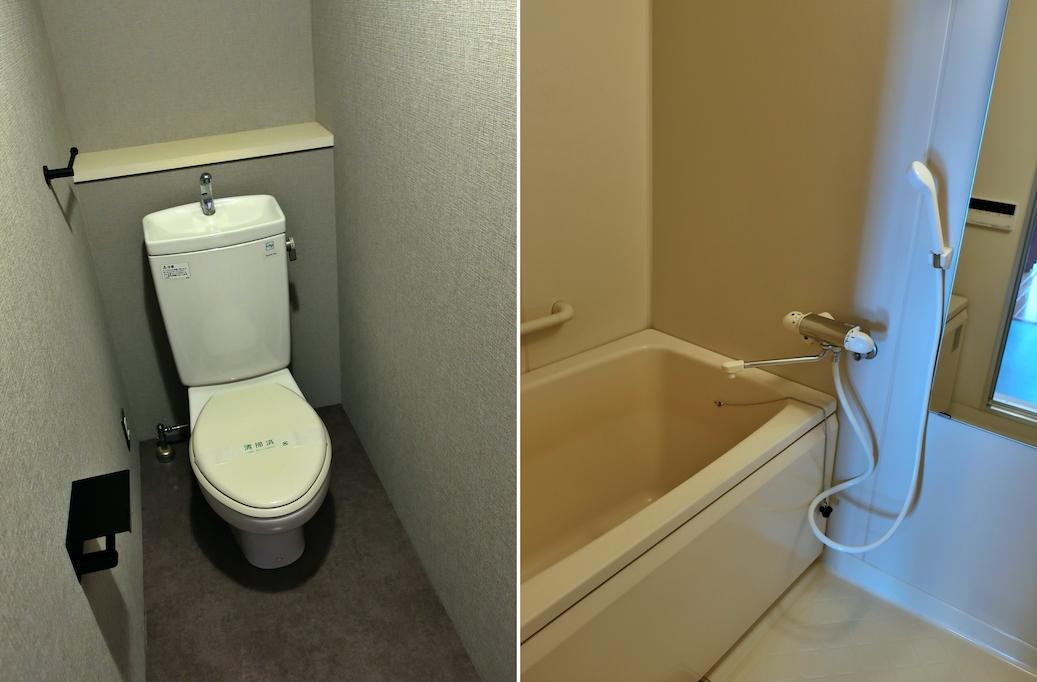 トイレと浴室はそれなりに古いけど清潔感あり