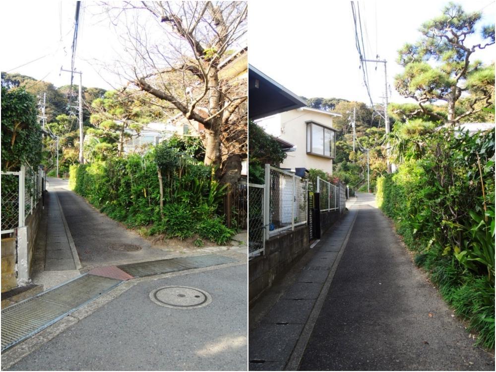 前面道路の入口は狭いところで約2.3m