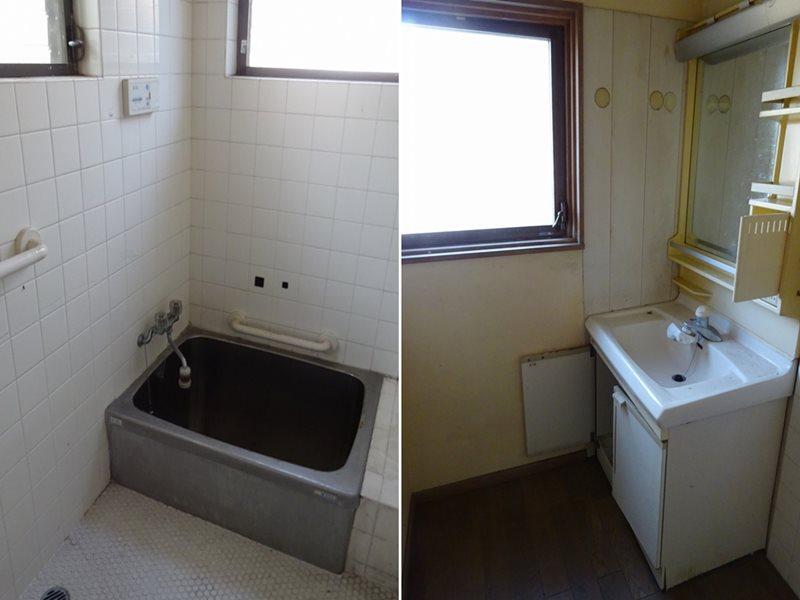 手前戸建て浴室&洗面所