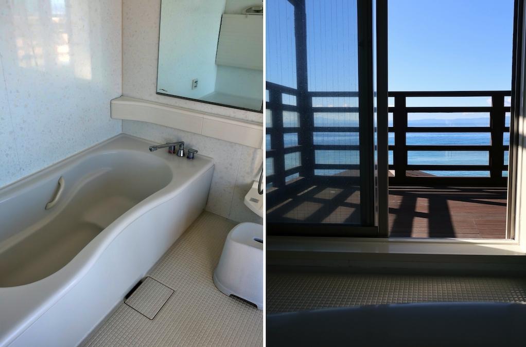 海見えのバスルームはデッキに直結