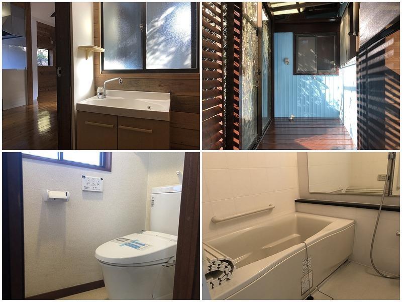 左上の写真洗面の窓を開ければ、右上の写真洗濯置き場の向かいなのでポンと洗濯物を入れられる!トイレは新しくなりました。