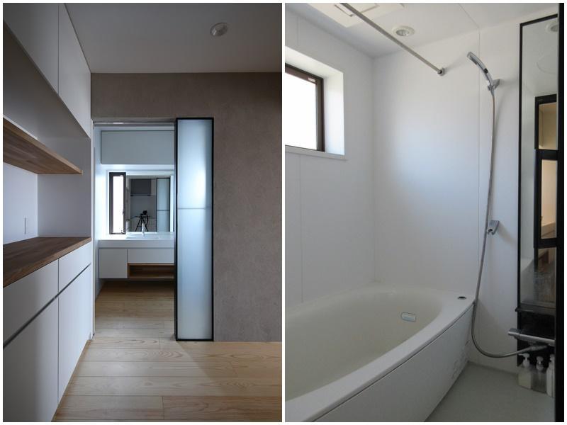 キッチンから脱衣所を見て 浴室には窓もあり