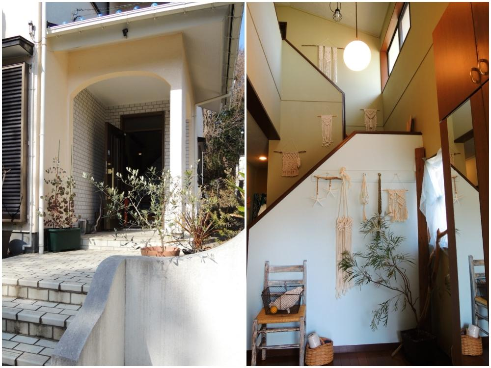 玄関|高い天井で開放感があり水色の壁とセットで爽やかに迎えてくれる