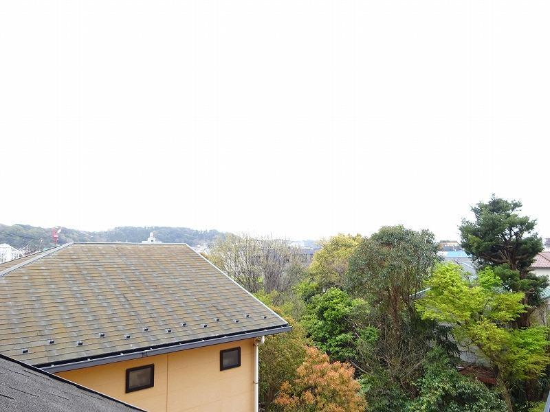 101号室のルーフバルコニーから景色を眺める
