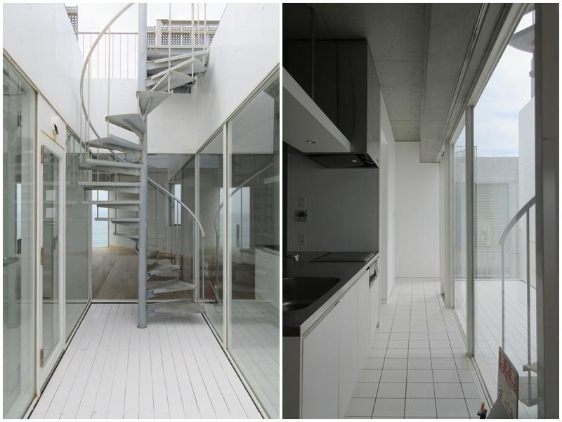 ルーフバルコニーへの螺旋階段|キッチンの背面