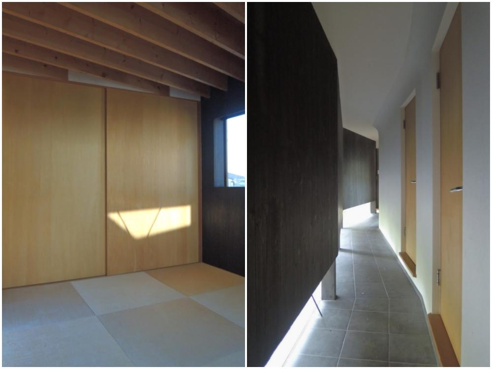 和室 敷地の形を象徴したグネグネとした廊下