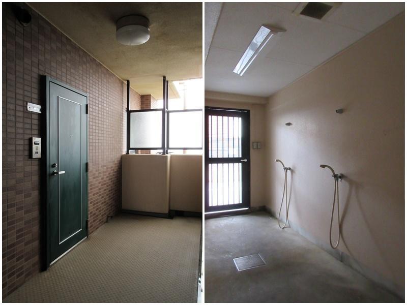 玄関まわりと、1階の共用部のシャワー