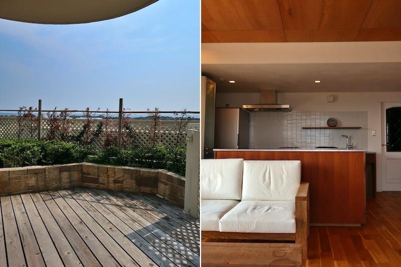 左:テラス 右:リビングキッチン
