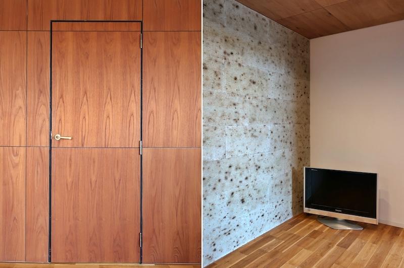 左:浴室への扉 右:大谷石の洋室